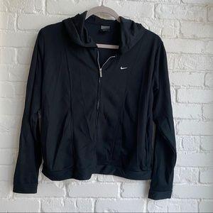 Nike Dri Fit Black Zip Up light Jacket w/ Hoodie